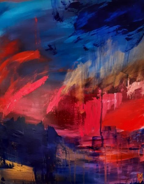 TABLEAU PEINTURE art abstrait paysage abstrait céline marcoz ciel Abstrait Acrylique  - Ciel