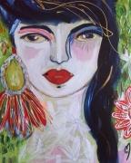 tableau personnages femme visage portrait celine marcoz : Femme