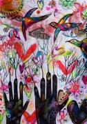 dessin animaux mains coeurs oiseaux celine marcoz : Mains