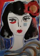 dessin personnages portrait femme fille visage : Portrait Femme Fleur