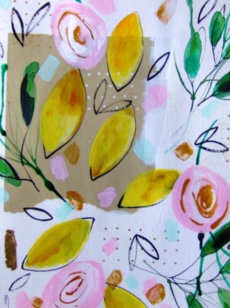 DESSIN citrons peinture citrons céline marcoz art contemporain Fruits Aquarelle  - Citrons