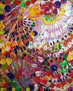 tableau abstrait abstrait fleurs celine marcoz art brut : Fleurs