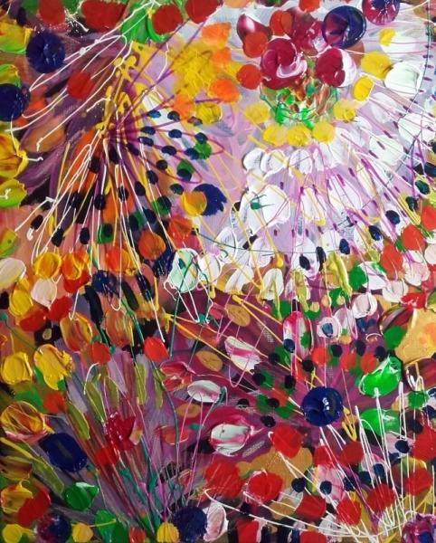 TABLEAU PEINTURE abstrait fleurs céline marcoz art brut Abstrait Acrylique  - Fleurs