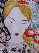 dessin personnages femme visage portrait celine marcoz : Visage Femme