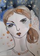 dessin personnages femme portrait visage celine marcoz : Femme