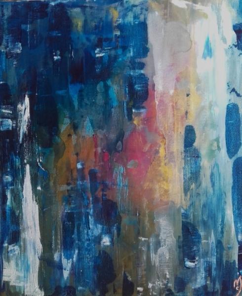 TABLEAU PEINTURE abstrait céline marcoz Abstrait Acrylique  - Bleu