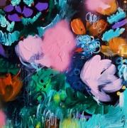 tableau fleurs art abstrait : jardin