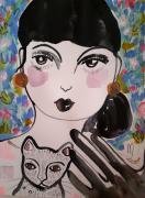 dessin personnages femme chat portrait celine marcoz : Femme Portrait avec Chat