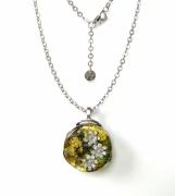 bijoux abstrait pendentif collier fleur inclusion : Cyane Fleur