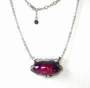 bijoux abstrait pendentif collier cabochon cristal : Cyane Pivoine