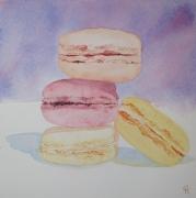 tableau autres macaron patisserie aquarelle couleur : quatre macarons délicieux