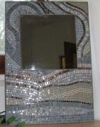 artisanat dart abstrait piece unique mosaique art nouveau miroir : minéral