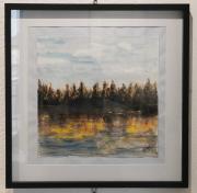 tableau paysages gouache automne lac lumiere : Reflets d'automne