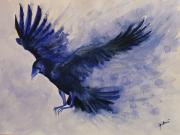 tableau animaux oiseau corbeau aquarelle encre : Vers la lumière