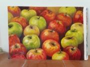 tableau nature morte pommes nature morte moderne rouge : Pommes en vrac/ VENDU