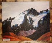tableau paysages montagne neige acrylique bleu : Montagne