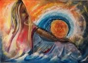 tableau abstrait vague abstrait femme : Vague