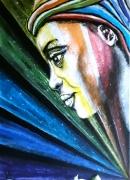 tableau personnages ethnique figuratif : Peuple arc en ciel