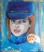 tableau personnages jeune fille hamster casquette : Casquette