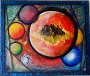 tableau abstrait abstrait cercle planete univers : Ici ou ailleurs
