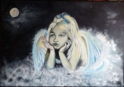 tableau personnages ange fillette enfant : Mon Ange