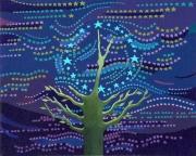 """tableau autres horloge nuit arbre etoiles : """"Horloge Nocturne"""" , """"Noctural Clock"""""""