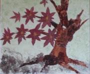 tableau abstrait creation tableau bouleau arbre liquidambar feuilles cire vegetale : ARBRE MORT FLEURI