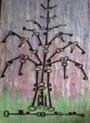 deco design autres tableau cires vegetales clefs arbre : ARBRE DE VIE