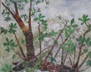 artisanat dart paysages ecorces cedre bouleau arbre tableau creation cire vegetale : LA SOUCHE