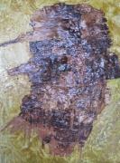 tableau personnages bois bouleau ecorce creation cire vegetale : BARBU A LA CASQUETTE