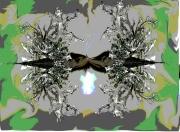dessin abstrait lichens argente art mixte dessin atelier chantemerle loir et cher : DOUBLE  JEU