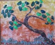 artisanat dart abstrait tableau bois cires vegetales ecorces cedre bouleau : LE BONSAI