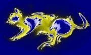 art numerique abstrait art numerique tableau bois cire collage peintre chantemerle alu : Chat Bleu