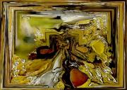 tableau nature morte lichens numerique acrylique chantemerle : LICHENS DORES AU REVEIL