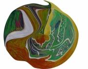 digital art fruits creation bois cires transfiguration papi tableau gravure post peinture collage fle : Apple