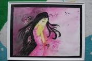 painting personnages fille robe : La petite fille à la robe rose