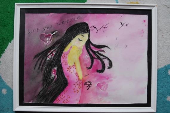 TABLEAU PEINTURE fille robe Personnages Aquarelle  - La petite fille à la robe rose
