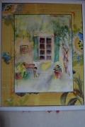 tableau paysages maison jardin : Petit jardin d'été