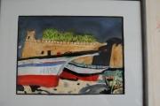 tableau marine bateaux maroc port : Petits bateaux au maroc