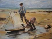 tableau marine enfants mer voilier : Enfants sur la plage