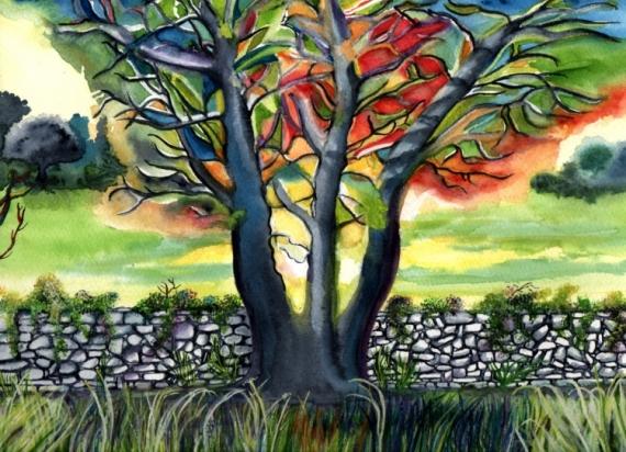TABLEAU PEINTURE impressionnisme restanque couleurs Provence Paysages Aquarelle  - D'une saison à l'autre