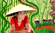 tableau personnages thailande bambou asie femme : Une esquisse de la Thaïlande