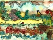 tableau saison encre oiseaux figuratif : Jardin d'hiver