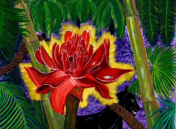 TABLEAU PEINTURE Amazonie panthère rose nature Paysages Acrylique  - Vie et nature en Amazonie