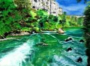 tableau paysages gorges verdon remous azur : Printemps sur le Verdon