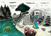 tableau personnages japon zen jardin geisha : Rendez-vous à la maison de thé