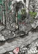 tableau paysages amazonie fleuve liane feu : Découverte de l'Amazonie