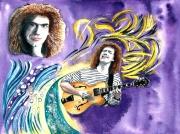 tableau personnages figuratif guitare portrait contemporain : Pat Metheny, jazzman