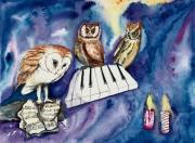 tableau animaux oiseaux piano hiboux nuit : La sonate inachevée