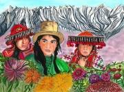 tableau personnages femmes quechua perou andes amerique latine : Péruviennes Quéchua